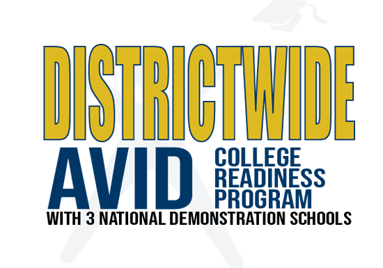 District Wide AVID college readiness program with 2 national demonstration schools