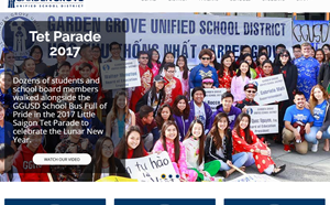 Display of newly-designed district website.