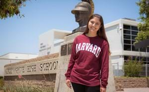 Garden Grove High School student sporting her Harvard sweater.