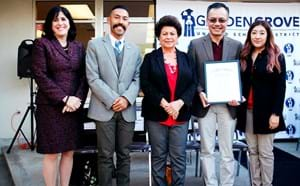 GGUSD superintendent, board members and council woman honoring Family Resource Center.