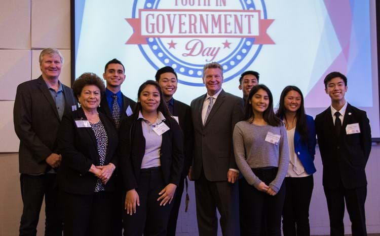 Students and administrators at Youth in Government Day.