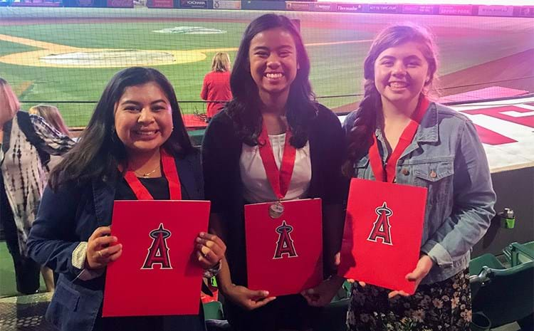 Scholarship recipients at the Los Angeles Angels of Anaheim Stadium.