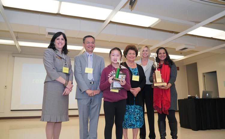 GGUSD Elementary School Spelling Bee winner Jessica Truong poses with GGUSD Superintendent Gabriela Mafi, Board of Education Vice President Teri Rocco, and Board of Education Lan Nguyen, Asst. Superintendent Sara Wescott, and her Principal Gurprit Dhillon.