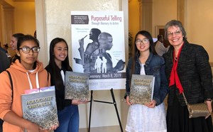 Irvine Intermediate School students Evelyn Martinez;  Intermediate Poetry finalist, Vian Nguyen; and 1st Place winner in the Intermediate Film Category, Carly Nguyen pose with their teacher, Mrs. Tartaglini at Chapman University for the 20th Annual Holocaust Art & Writing Contest Awards Ceremony on March 8.
