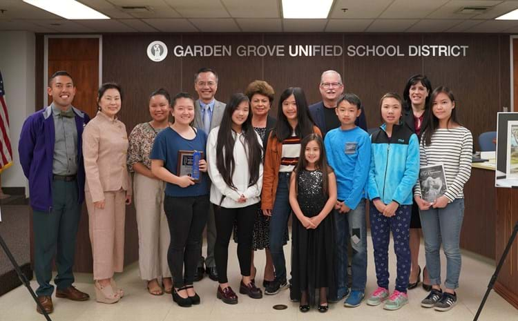 Students winners of the 41st Annual GGUSD First Impressions Art Show pose with the GGUSD Board of Education and Superintendent Dr. Gabriela Mafi, furing the March 19 Board of Education meeting.