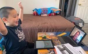 woodbury student says hi to his teacher